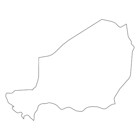 Niger - solid black outline border map of country area. Simple flat vector illustration.