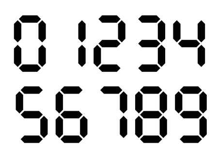 Black digital numbers. Seven-segment display is used in calculators, digital clocks or electronic meters. Vector illustration.