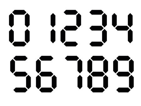 Números digitales negros. La pantalla de siete segmentos se utiliza en calculadoras, relojes digitales o medidores electrónicos. Ilustración vectorial.
