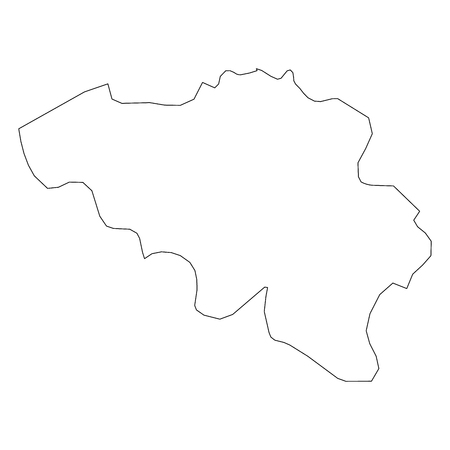 Belgium - solid black outline border map of country area. Simple flat vector illustration.