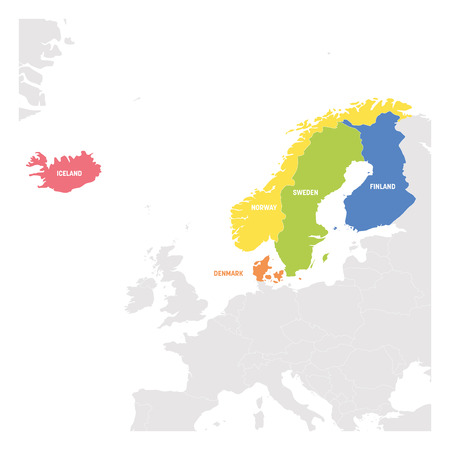 North Europe Region. Colorful map of countries of Scandinavia. Vector illustration. Ilustracje wektorowe