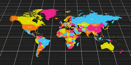 Colorful geopolitical map of World. Bottom perspective view on dark background and grid. Vector illustration.