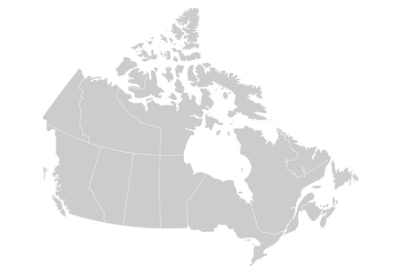 Blank map of Canada divided into 10 provinces and 3 territories. Administrative regions of Canada. Solid grey vector map.