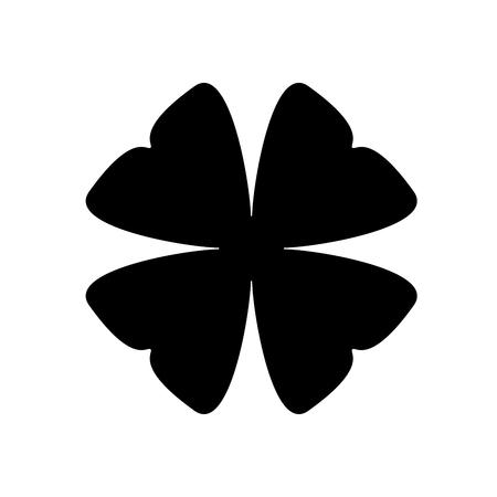 Shamrock silhouette - black four leaf clover icon. Good luck theme design element. Simple shape vector illustration. Illustration