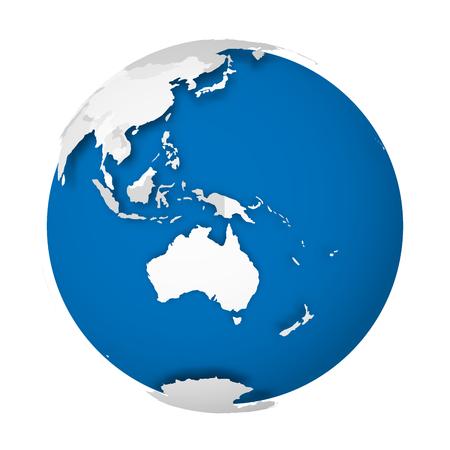 Aarde bol. 3D-wereldkaart met grijze politieke kaart van landen die schaduwen laten vallen op blauw en oceanen. Vector illustratie. Vector Illustratie