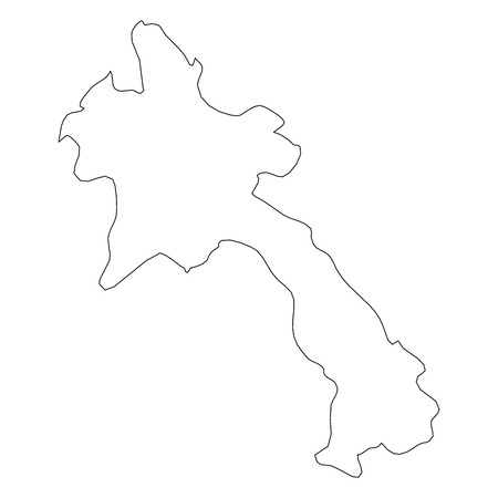 Laos - solid black outline border map of country area. Simple flat vector illustration.