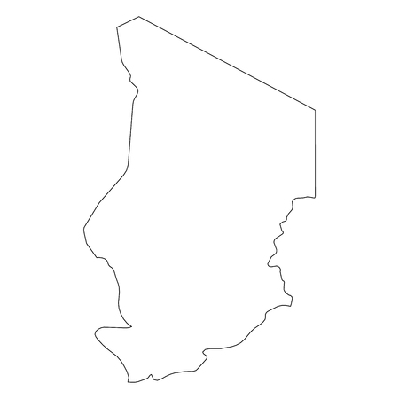 Chad - solid black outline border map of country area. Simple flat vector illustration. Vettoriali