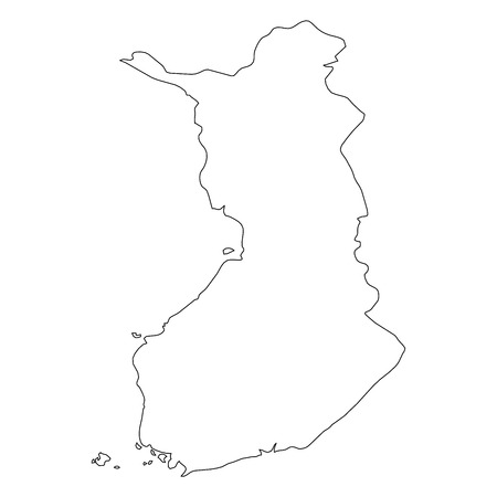 Finland - solid black outline border map of country area. Simple flat vector illustration. Ilustracja