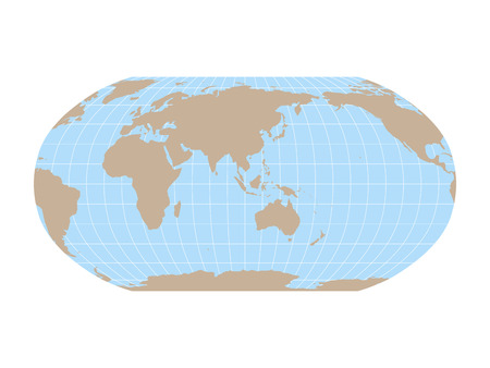 World Map in Robinson Projection with meridians and parallels grid. Asia and Australia centered. Brown land and blue sea. Vector illustration. Stock Illustratie