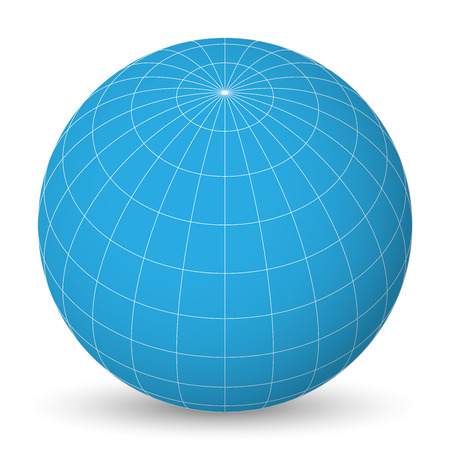 Blank planet Earth blue globe with grid of meridians and parallels, or latitude and longitude. 3D vector illustration. Иллюстрация