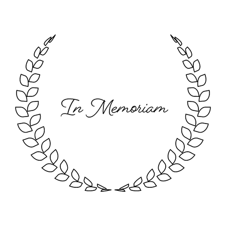 Funeral wreath with In Memoriam label. Rest in peace. Simple flat black illustration.