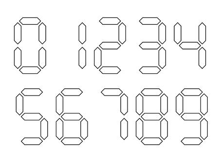 Números digitales blancos con contorno negro. La pantalla de siete segmentos se utiliza en calculadoras, relojes digitales o medidores electrónicos. Ilustración vectorial. Ilustración de vector