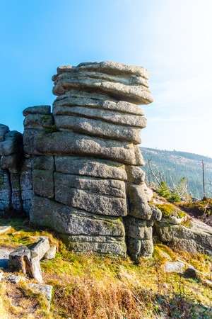 Eroded granite rock formation on the top of Tristolicnik, Dreisesselberg. Sumava National Park and Bavarian Forest, Czech republic and Germany.
