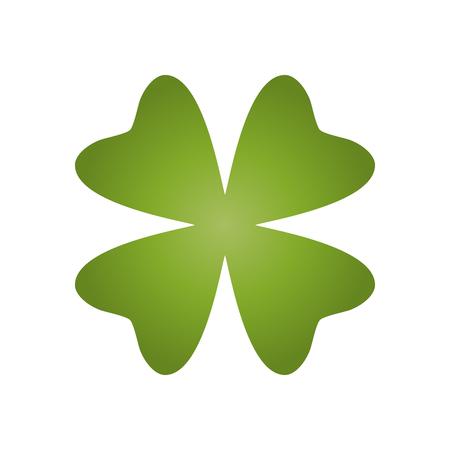 Shamrock - green gradient four leaf clover icon. Good luck theme design element. Simple geometrical shape vector illustration.