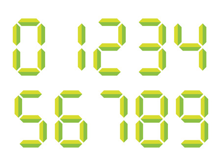 Green 3D-like digital numbers. Seven-segment display is used in calculators, digital clocks or electronic meters. Vector illustration.  イラスト・ベクター素材