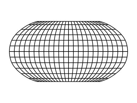 Cuadrícula del mundo en blanco de meridianos y paralelos. Ilustración vectorial simple.