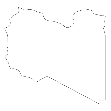 Libya - solid black outline border map of country area. Simple flat vector illustration.