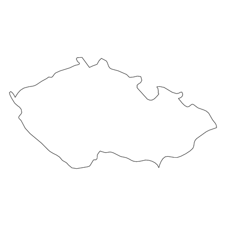 Czech Republic - solid black outline border map of country area. Simple flat vector illustration.
