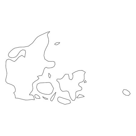 Dänemark - solide schwarze Umriss-Grenzkarte des Landesgebiets. Einfache flache Vektorillustration.