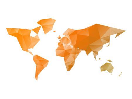 Low poly map of World in shades of orange. Vector illustration.