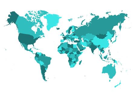 Weltkarte in vier Schattierungen von Türkisblau auf weißem Hintergrund. Hochdetaillierte politische Karte mit Ländernamen. Vektor-Illustration.