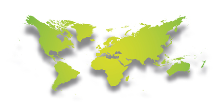 Map of World. Simple green gradient silhouette with dropped shadow isolated on white background. Vector illustration.