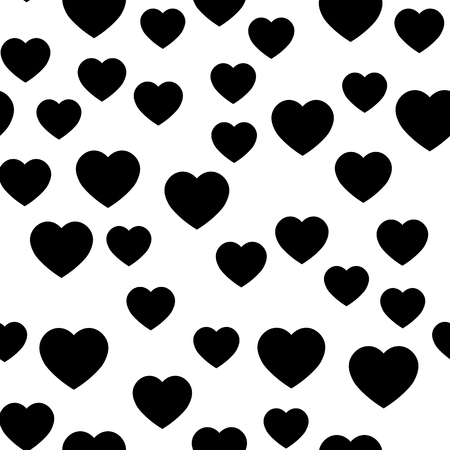 Black heart silhouettes seamless pattern. Random scattered hearts background. Love or Valentine theme. Vector illustration.  イラスト・ベクター素材