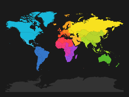 Colorful map of World divided into regions on dark grey background. Simple flat vector illustration.