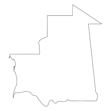 Mauritania - solid black outline border map of country area. Simple flat vector illustration.