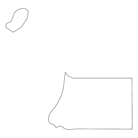 Equatorial Guinea - solid black outline border map of country area. Simple flat vector illustration. Illustration