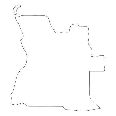 Angola - solid black outline border map of country area. Simple flat vector illustration. Illustration