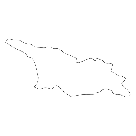 Georgia - solid black outline border map of country area. Simple flat vector illustration.