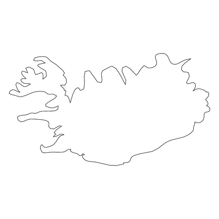 Iceland - solid black outline border map of country area. Simple flat vector illustration.