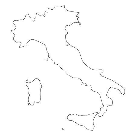 Italy - solid black outline border map of country area. Simple flat vector illustration.