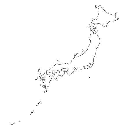 Japan - solid black outline border map of country area. Simple flat vector illustration. Çizim