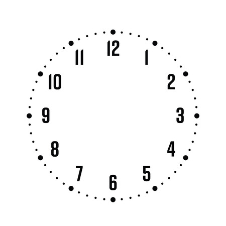 Tarcza zegara. Pokrętło godzinowe z numerami. Kropki oznaczają minuty i godziny. Proste płaskie wektor ilustracja.