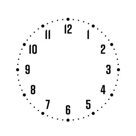Ziffernblatt. Stundenzifferblatt mit Zahlen. Punkte markieren Minuten und Stunden. Einfache flache Vektorillustration.