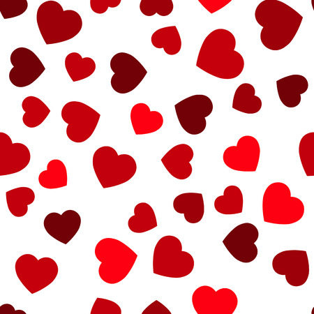 Red hearts seamless pattern. Random scattered hearts background. Love or Valentine theme. Vector illustration. 일러스트
