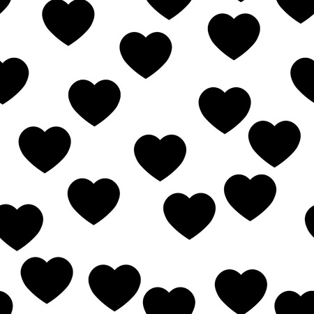 Black heart silhouettes seamless pattern. Random scattered hearts background. Love or Valentine theme. Vector illustration. 일러스트