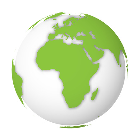 Natural Earth globe. 3D world map with green lands dropping shadows on white globe. Vector illustration.