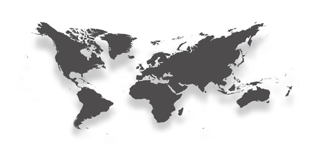Map of World. Simple dark grey gradient silhouette with dropped shadow isolated on white background. Vector illustration.