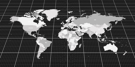 Geopolitical map of World. Bottom perspective view with background grid. Vector illustration.