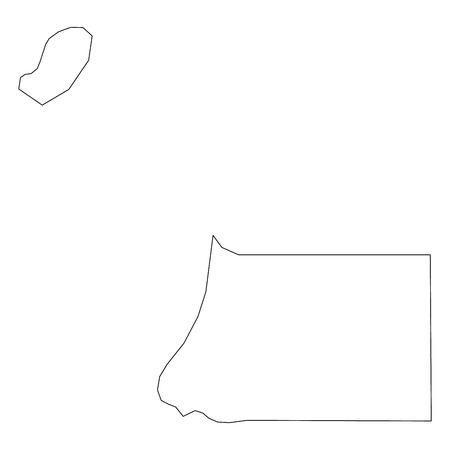 Equatorial Guinea - solid black outline border map of country area. Simple flat vector illustration. 向量圖像