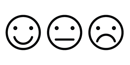 Basic emoticons set. Three facial expression of feedback - positive, neutral and negative. Simple black outline vector icons.