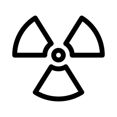 Radioactive material sign. Symbol of radiation alert, hazard or risk. Simple flat vector illustration in black and white. Reklamní fotografie - 124489867