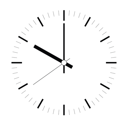 Clock face. Blank hour dial with hour, minute and second hand. Dashes mark minutes and hours. Simple flat vector illustration. Ilustracje wektorowe