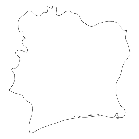 Cote d Ivoire - solid black outline border map of country area. Simple flat vector illustration. Vectores