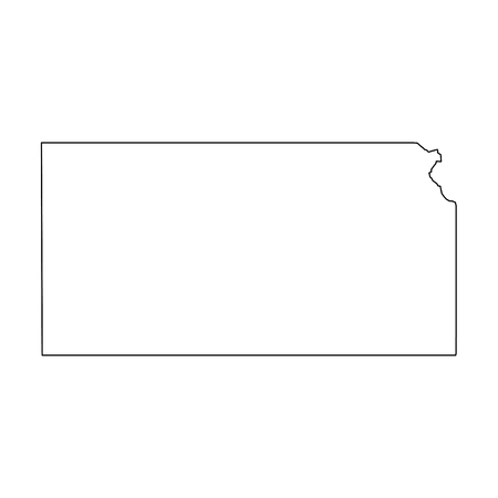 Kansas, state of USA - solid black outline map of country area. Simple flat vector illustration.