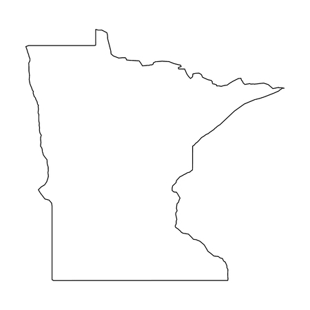 Minnesota, state of USA - solid black outline map of country area. Simple flat vector illustration. 向量圖像