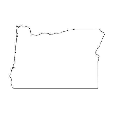 Oregon, state of USA - solid black outline map of country area. Simple flat vector illustration. 向量圖像